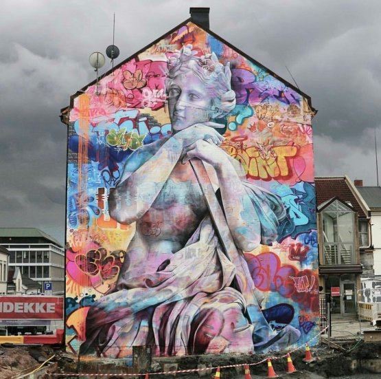 PichiAvo's street art mural in Drammen, Norway (2016)