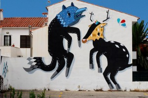 street art sabek wolf deer