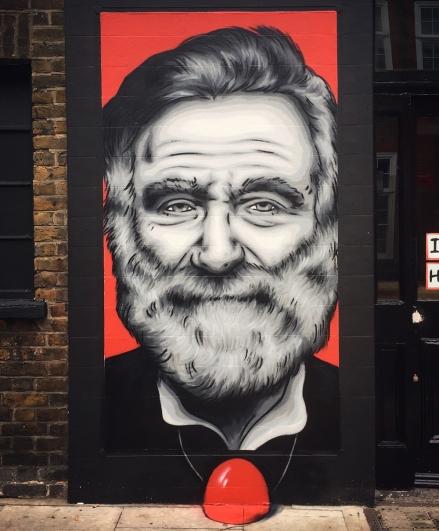 Zabou street art 21 Robin Williams in London-UK